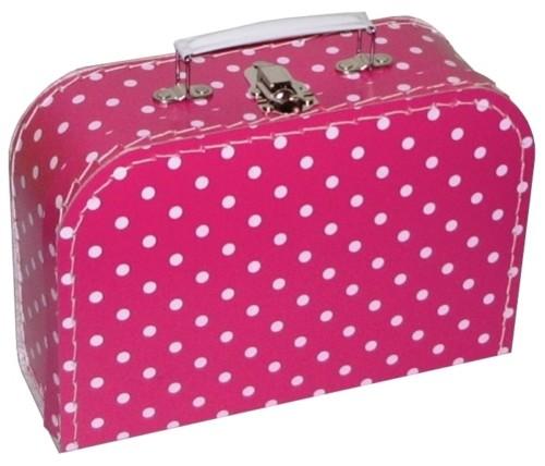 Fuchsia polkadot koffer met naam