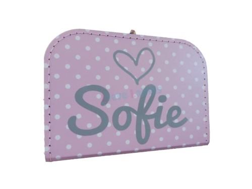 Roze polkadot koffertje met naam